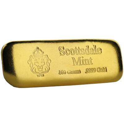 A picture of a 100 gram Scottsdale Gold Bar